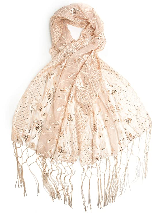 1920s Style Shawls, Wraps, Scarves Bohomonde Amaryllis Shawl Sequin Evening Wrap Embroidered Sequin Shawl $16.95 AT vintagedancer.com