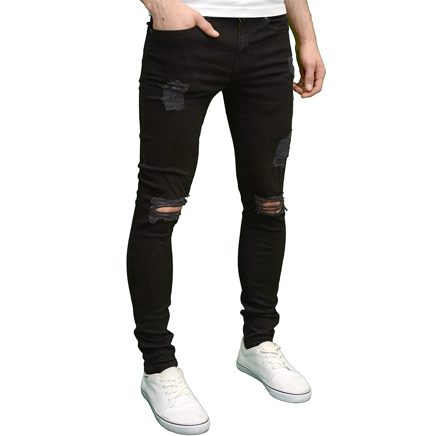 f14fbab15b18b Enzo Mens Ripped Super Stretch Skinny Distressed Jeans