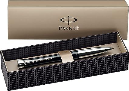 Parker - Bolígrafo de punta de bola y caja (adornos cromados), color negro: Amazon.es: Oficina y papelería