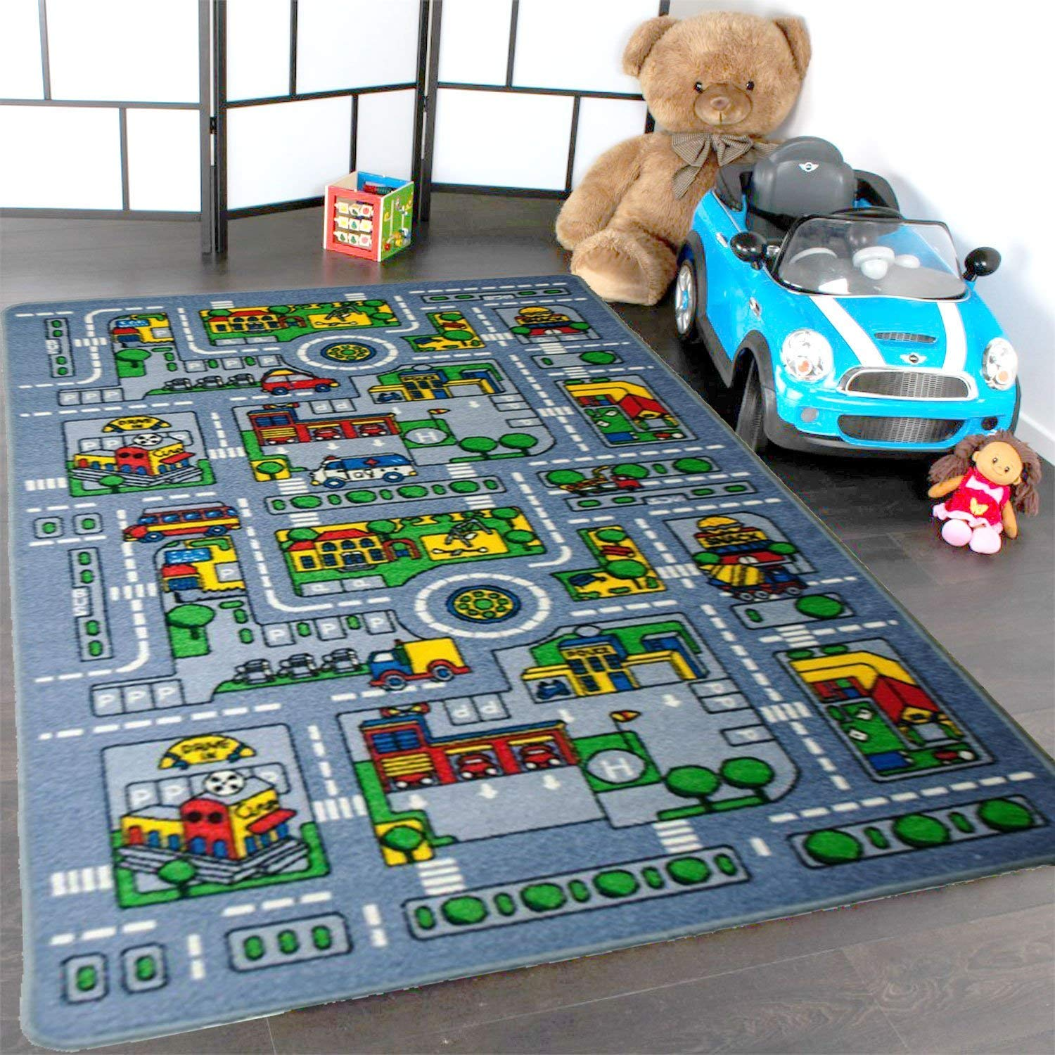 Amazon Com Mybecca Kids Rug City Map Fun Play Rug 5 X 7 Children