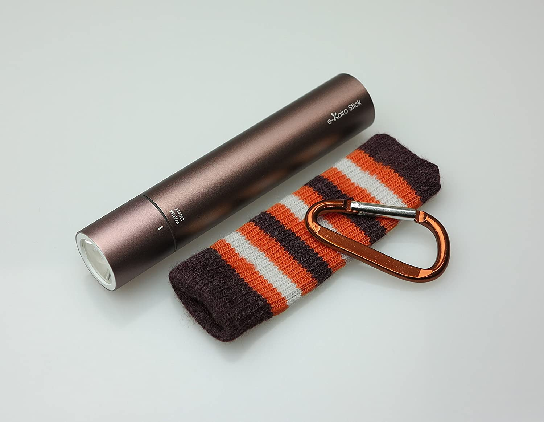 ELAICE エレス e-KairoStick イーカイロ スティック 充電式カイロ 予備バッテリー LEDライト ブラウン