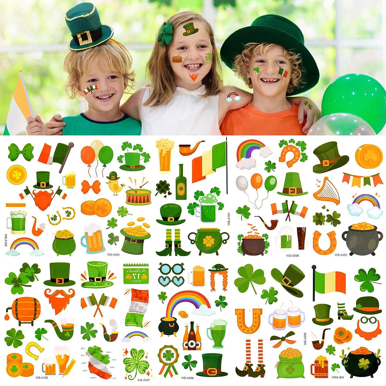 Kalolary St. Patrick's Day Tattoos for Kids, 10 Sheet Irish Temporary Tattoos Face Tattoo Stickers for Saint Patricks Day with Shamrock Tattoos for Kids