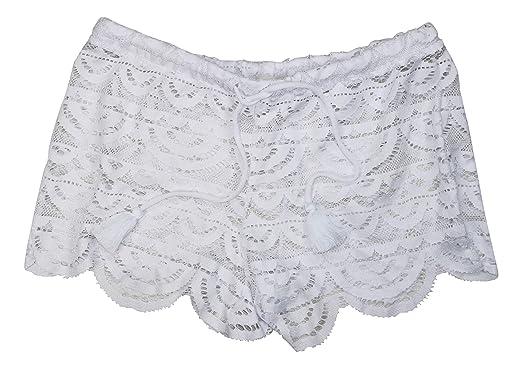 d1d52d41aa8d1 Miken Crochet Scalloped Hem Summer Cover Up Shorts (White, Large) at ...