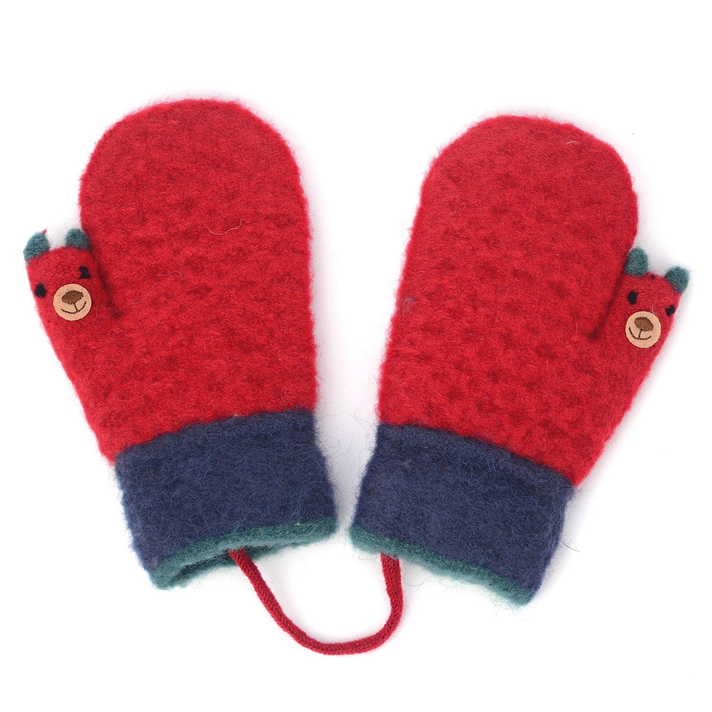 Zeltauto Unisex Baby Knitted Mitten Thumb Bear Cartoon Design Gloves
