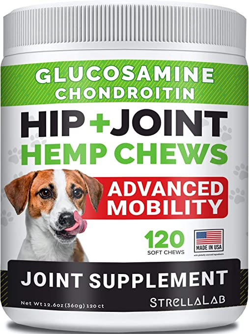 Hemp Treats - Glucosamine Dog Joint Supplement + Omega 3 - w/Hemp Oil - Chondroitin, MSM - Advanced Mobility Chews - Joint Pain Relief - Hip & Joint Care - Chicken Flavor - 120 Ct - Made in USA