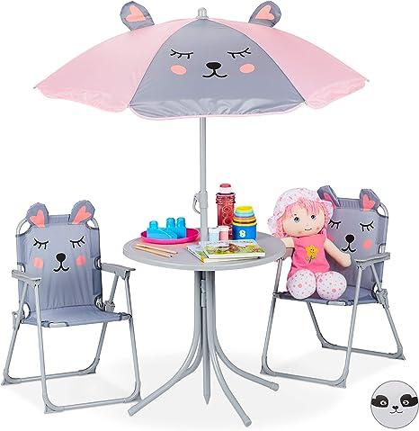 Relaxdays Grigio Tavolo Bambini Con Ombrellone Set Con 2 Sedie Da Campeggio Giardino Tavolino Picnic Giochi Casa Amazon It Giardino E Giardinaggio