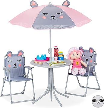 Relaxdays Mobiliario Infantil para jardín, Sombrilla, Sillas Plegables, Mesa para niños, 4 Uds, Ratón, Gris, Hierro: Amazon.es: Hogar