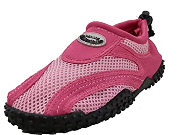 Women's Wave Water Shoes Pool Beach Aqua Socks - Fuchsia/Pink Black w/Black Emblem- 9