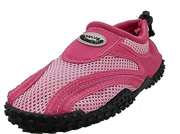 Women's Wave Water Shoes Pool Beach Aqua Socks - Fuchsia/Pink Black w/Black Emblem- 8