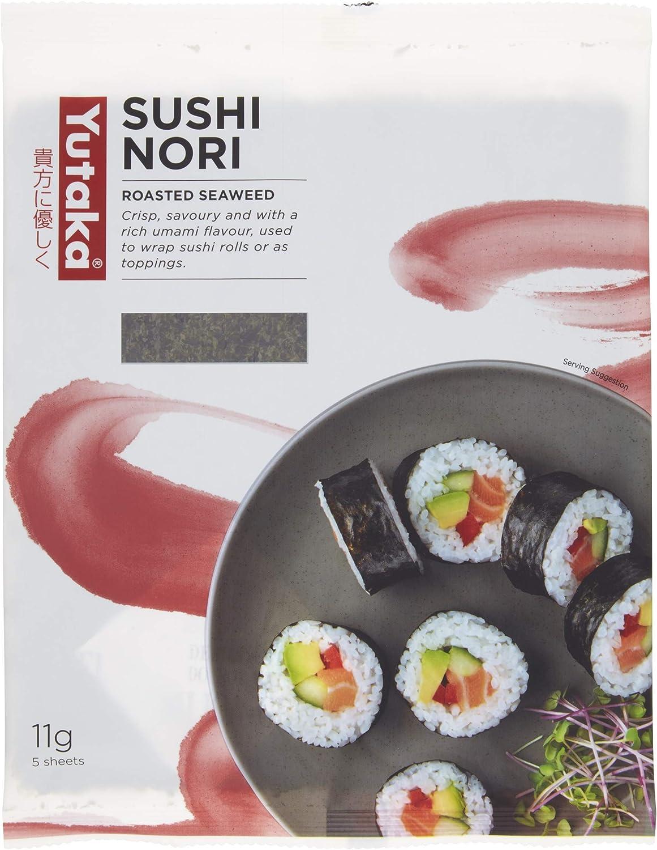 Yutaka Sushi Nori Seaweed 11 g 1 Pack - 5 hojas (Pack de 3 ...