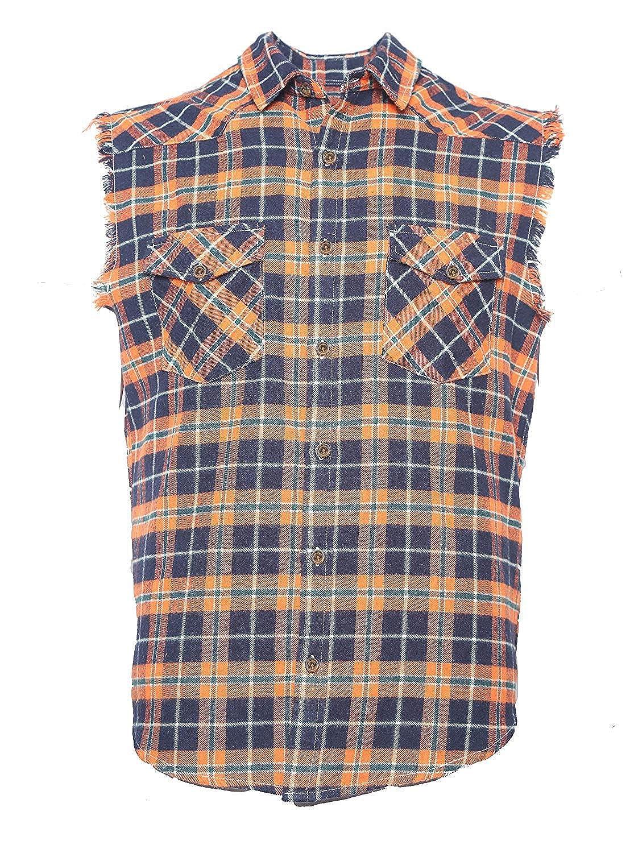 d130e171ba1b Amazon.com: NUTEXROL Men's Casual Flannel Plaid Shirt Sleeveless Cotton  Plus Size Vest: Clothing