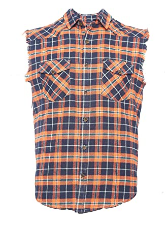 c01ce490cf77 NUTEXROL Men s Casual Flannel Plaid Shirt Sleeveless Cotton Plus Size Vest  Black and Orange XS
