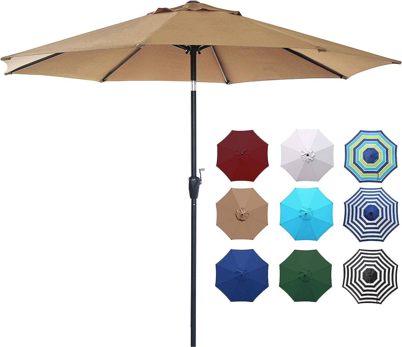 SONGMICS 9 ft Patio Umbrella UGPU09BEV1 Outdoor Table Umbrella Balcony and Terrace Beige for Gardens Sun Shade with Push Button Tilt and Crank Mechanism Octagonal Polyester Canopy