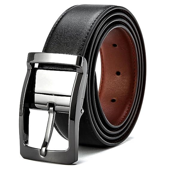90b93f622da8 VICSPORT Ceinture réversible pour homme en cuir ceinture en noire mode  ceinture chic le costume et