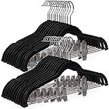 SONGMICS 30-Pack Pants Hangers, 16.7-Inch Long Velvet Hangers with Adjustable Clips, Non-Slip, Space-Saving for Pants, Skirts