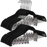 SONGMICS 30-Pack Pants Hangers, 16.7-Inch Long Velvet Hangers with Adjustable Clips, Non-Slip, Space-Saving for Pants…