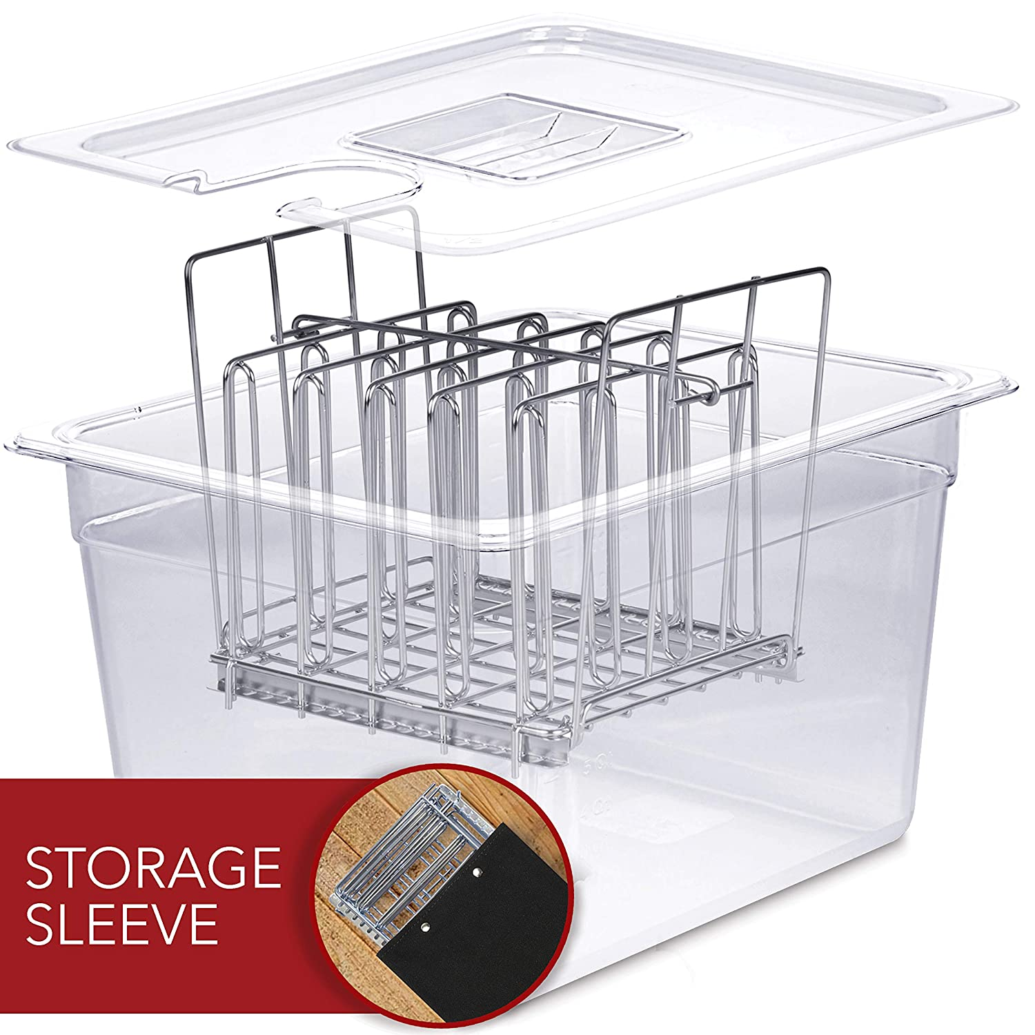 VÄESKE Sous Vide Container with Lid & Rack Set - 12 Quart Accessories Kit for Most Sous Vide Cookers - Durable Polycarbonate and Rust-Resistant Stainless Steel