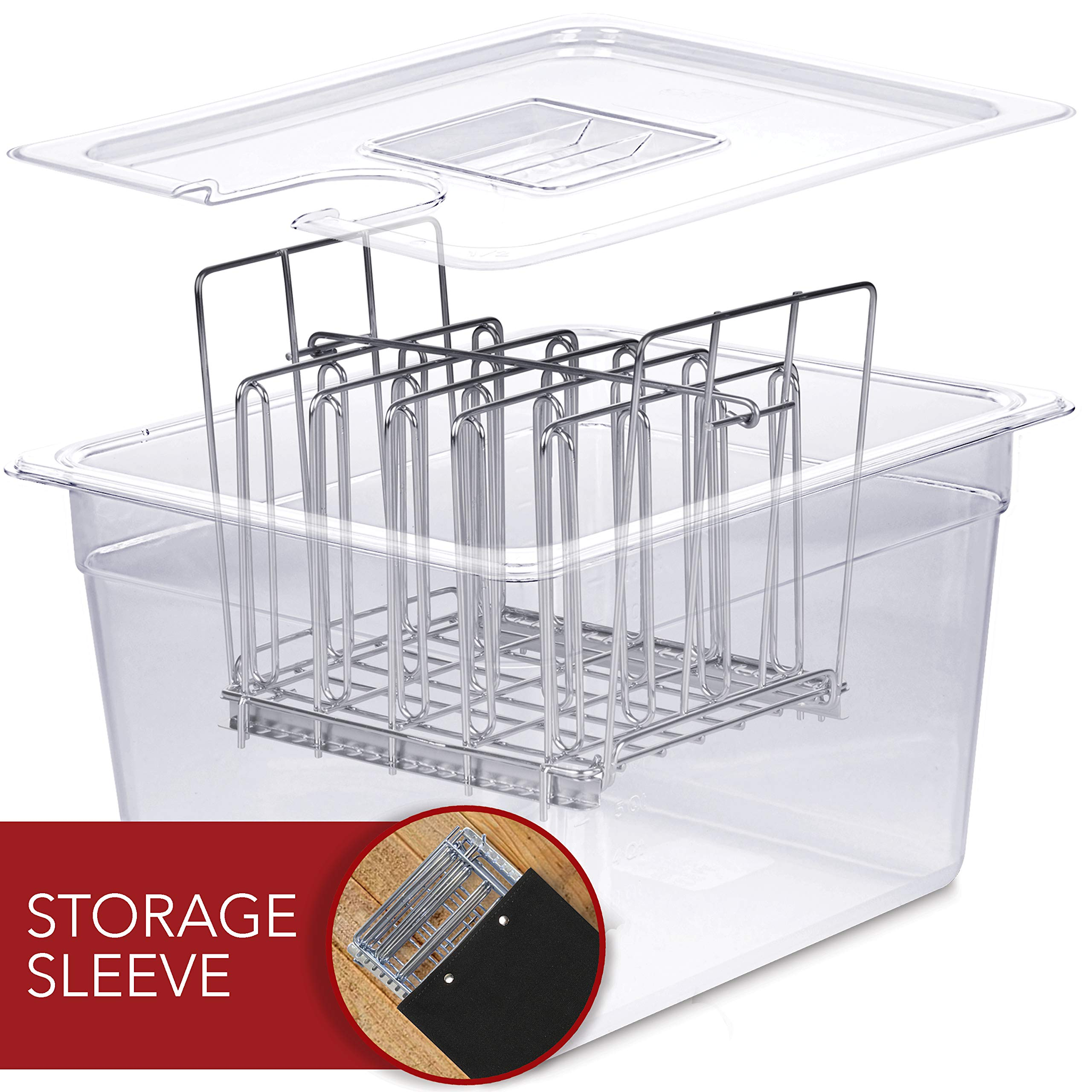 VÄESKE Sous Vide Container with Lid & Rack Set - 12 Quart Accessories Kit for Most Sous Vide Cookers - Durable Polycarbonate and Rust-Resistant Stainless Steel by Väeske