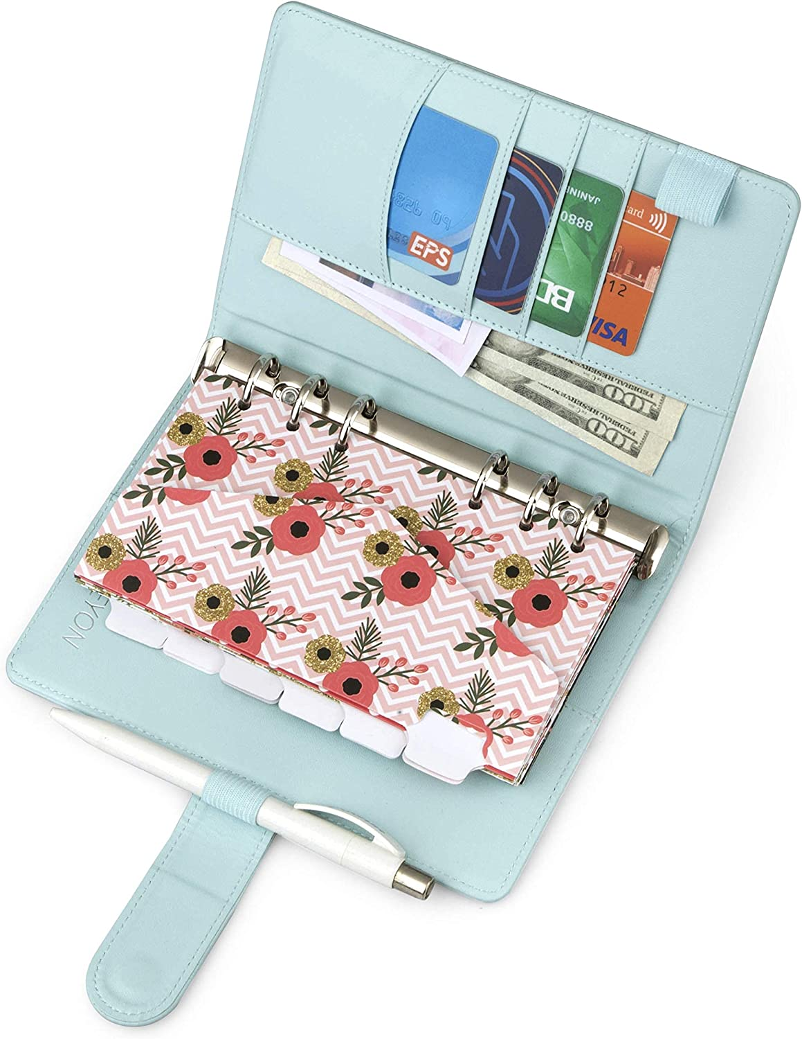 Blue A6 Binder and Budget Envelopes, Budget Binder with Cash Envelopes for Budgeting, Mini Binder Cash Envelope Wallet, Small Binder Budget Planner, Cash Envelope Binder with Money Envelopes for Cash : Office Products