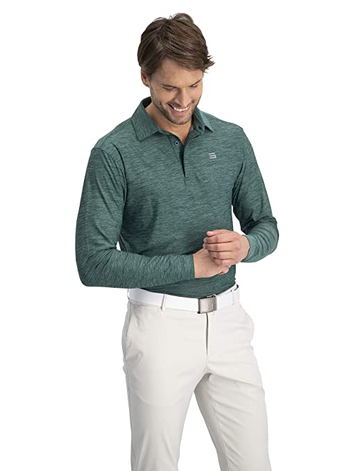1b0ccd34 Amazon.com: Men's Dry Fit Long Sleeve Polo Golf Shirt, Moisture Wicking and  4 Way Stretch: Sports & Outdoors