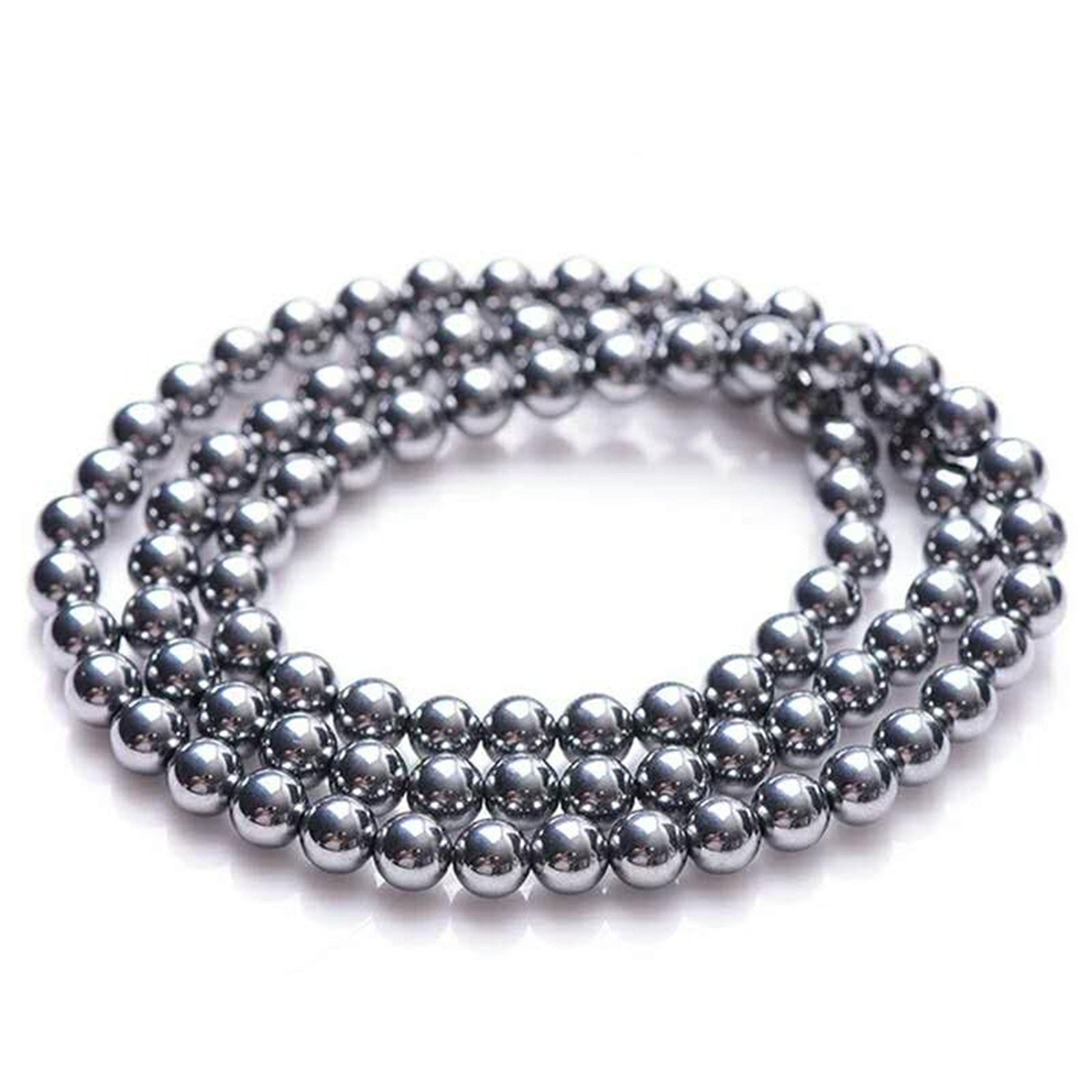 Natural Terahertz Wave Gemstone Round Beads Healing Bracelet 6mm