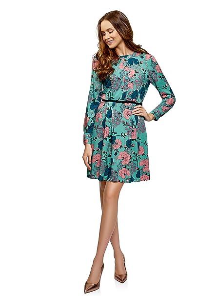 9f67806ccd7c oodji Collection Donna Abito in Viscosa con Cintura  Amazon.it   Abbigliamento