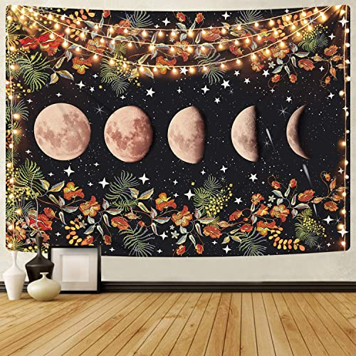 Moonlit Garden Tapestry, Moon Phase Tapestries Flower Vine Tapestry Black Background Floral Tapestry Wall Hanging for Room 70.9 x 92.5 inches