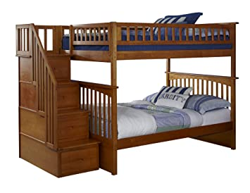 Amazon Com Columbia Staircase Bunk Bed Full Over Full Caramel