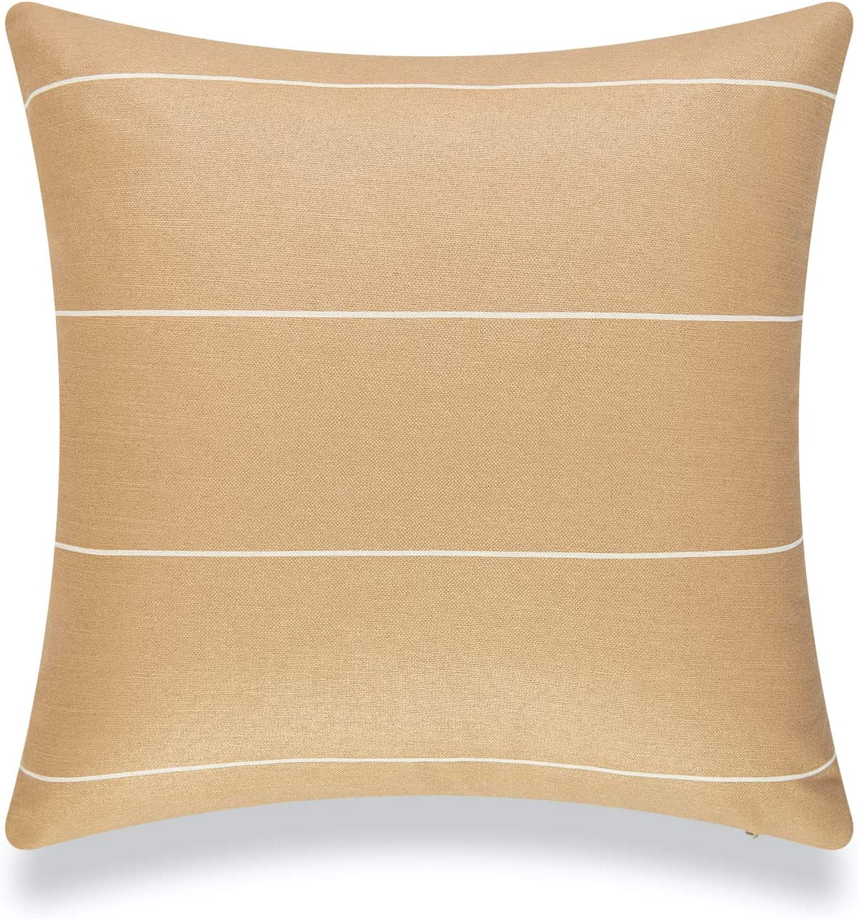 Hofdeco Modern Boho Patio Indoor Outdoor Pillow Cover ONLY for Backyard, Couch, Sofa, Sand Striped, 20