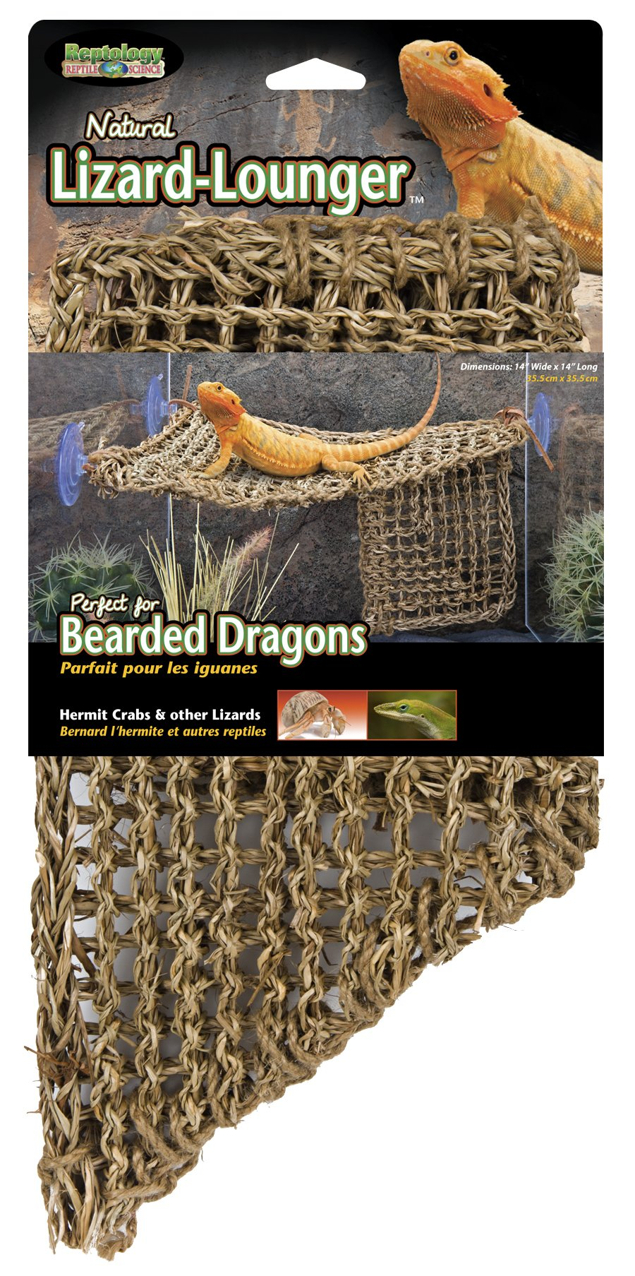 Penn Plax REP701 Lizard Lounger, 100% Natural Seagrass Fibers For Anoles, Bearded Dragons, Geckos, Iguanas, and Hermit…