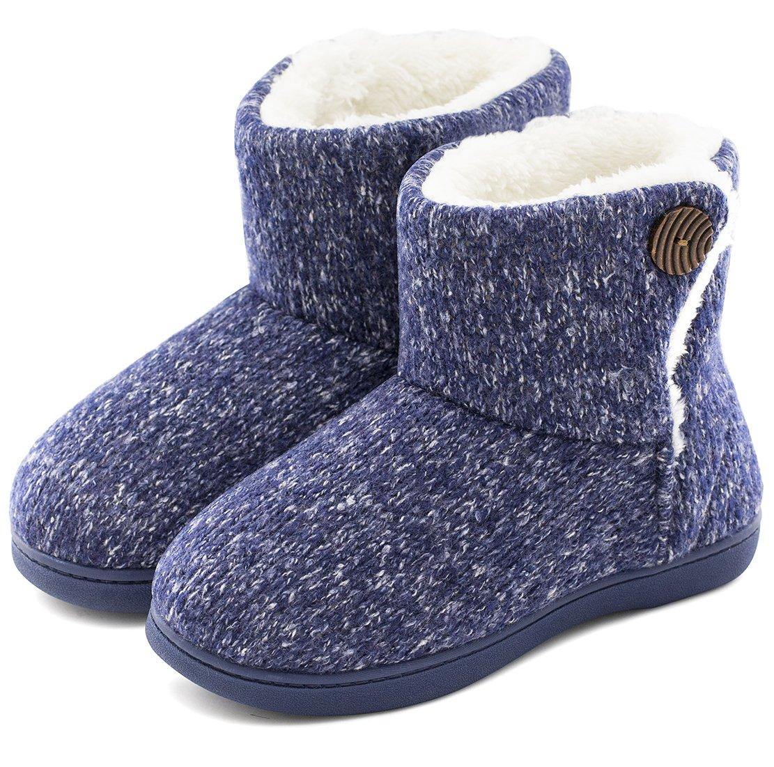 Women's Comfort Woolen Yarn Woven Bootie Slippers Memory Foam Plush Lining Slip-on House Shoes w/ Anti-Slip Sole Indoor, Outdoor, Navy Blue, Medium / 7-8 B(M) US