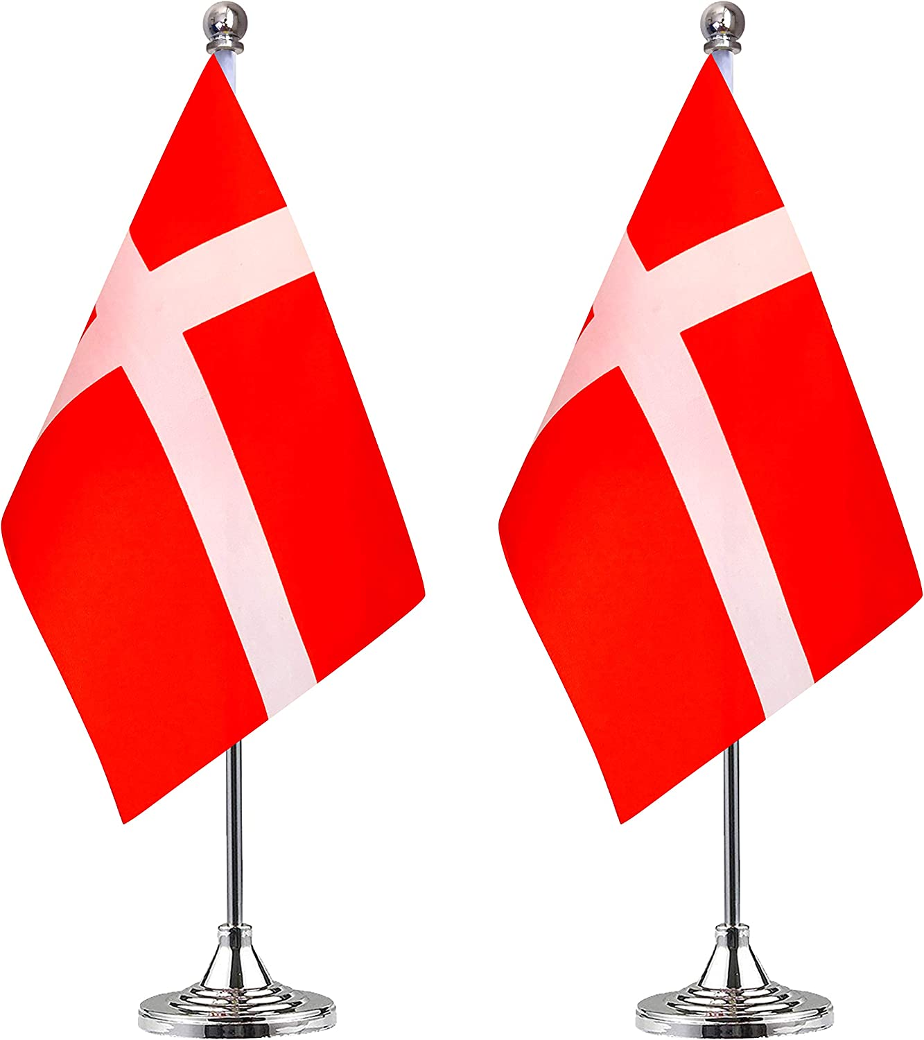 WEITBF Denmark Dane Desk Flag Small Mini Danish Office Table Flag with Stand Base,Danish Dane Themed Party Decorations Celebration Event,2 Pack