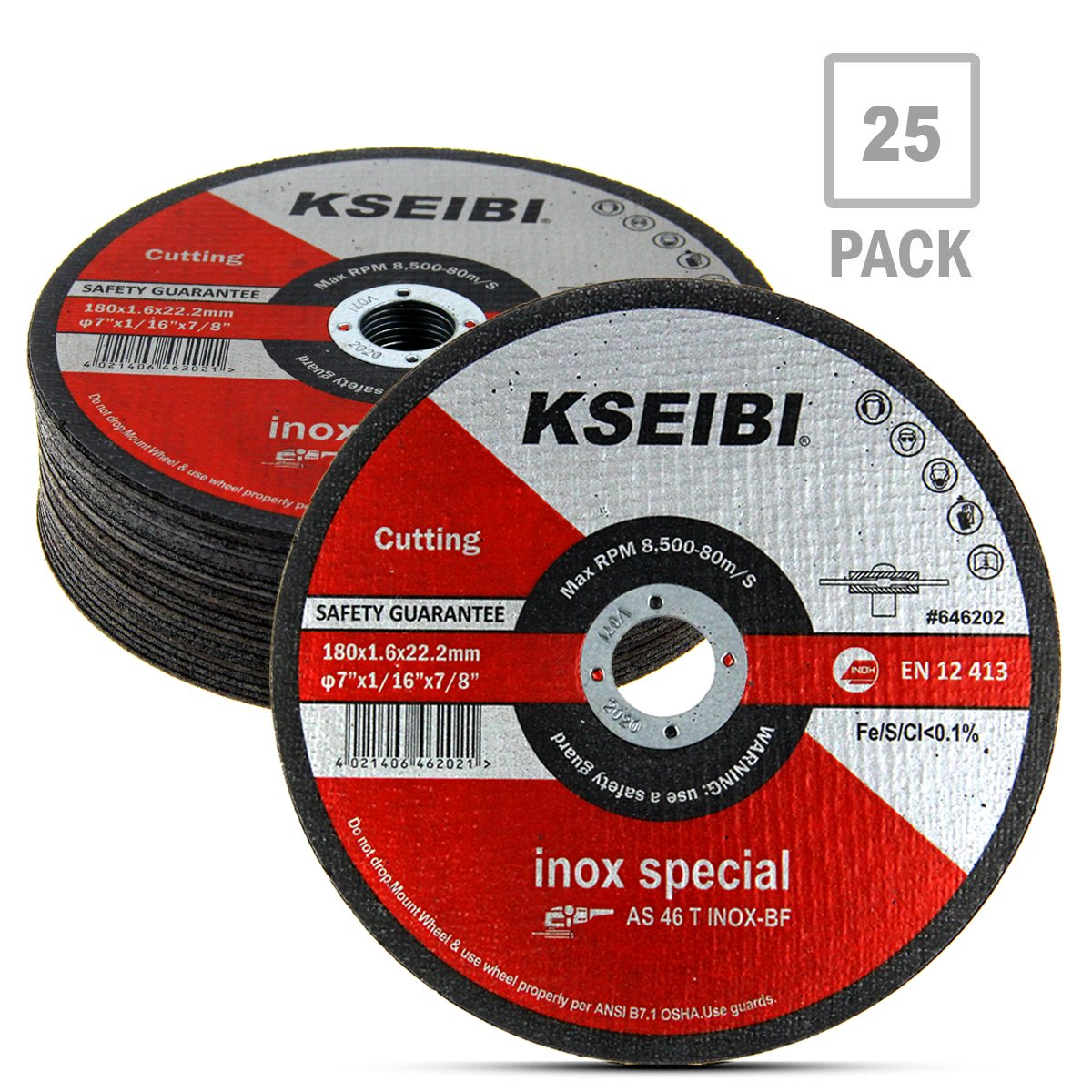 KSEIBI 646202 7-Inch by 1/16-Inch Metal and Stainless Steel Inox Cutting Disc Ultra Thin Flat Cut Off Wheel, 7/8-Inch Arbor, 25-Pack