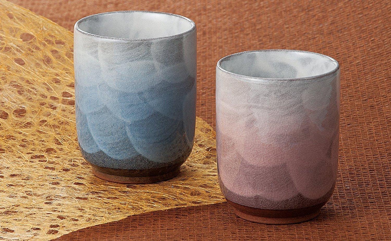 Pair Tea Cups Yusai Kutani Yaki Yunomi by Kutani