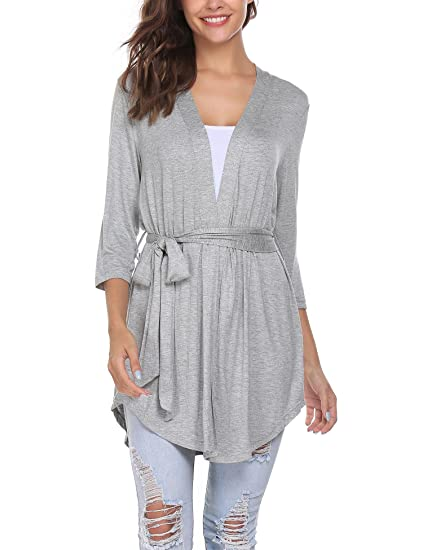 872795e5c47 ELESOL Women s Lightweight Open Drape Front Cardigan Plus Size Cardigan  Sweater Long Sleeves (Gray S) at Amazon Women s Clothing store