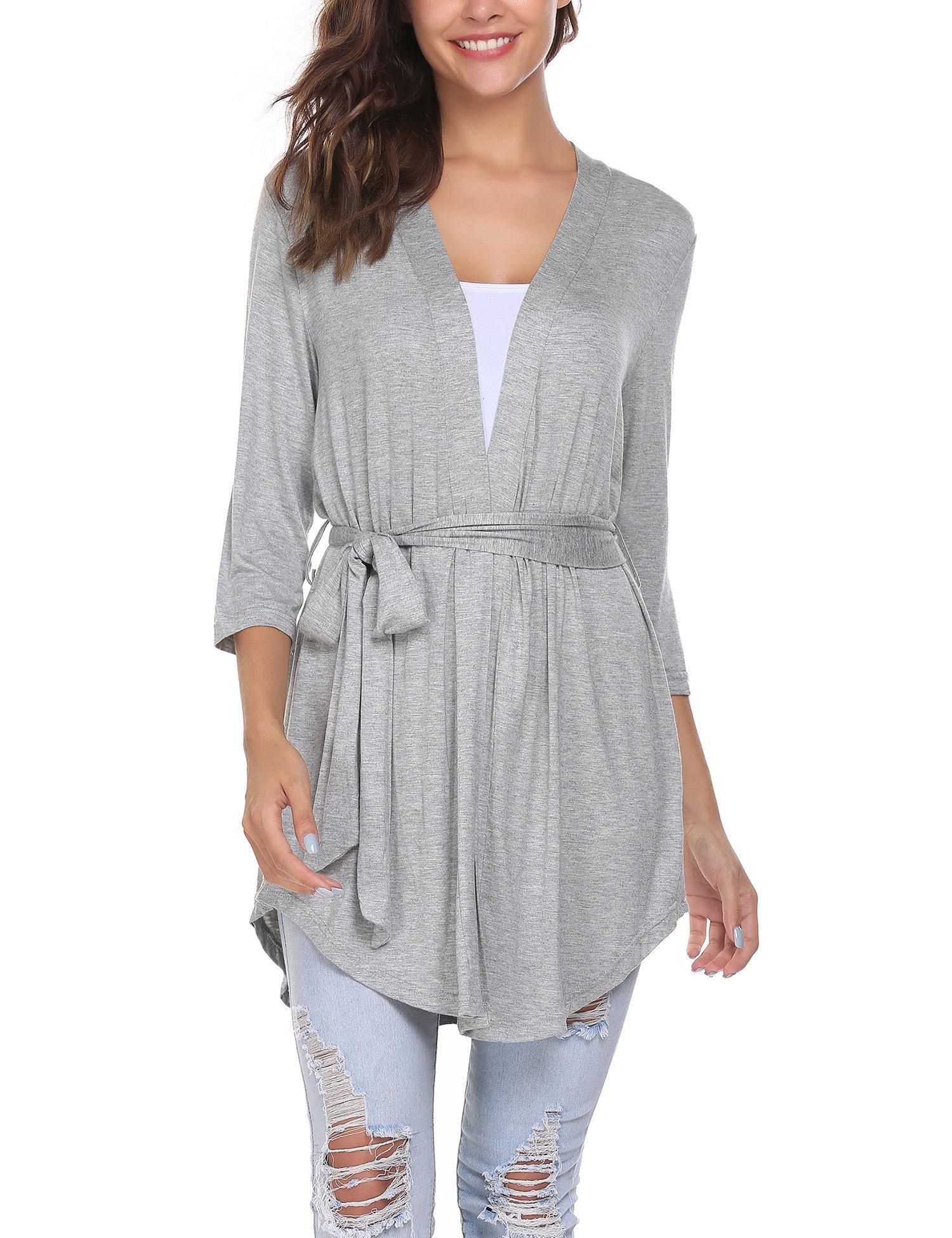 ELESOL Women Open Front Drape Hem Lightweight Cardigan Knit Soft Wrap Travel Sweater Kimono Cardigan (Gray/M)