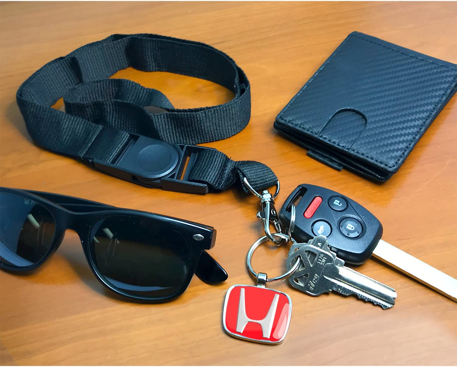 Black Nylon Lanyard with Red H Logo Key Charm Honda Civic Si iPick Image