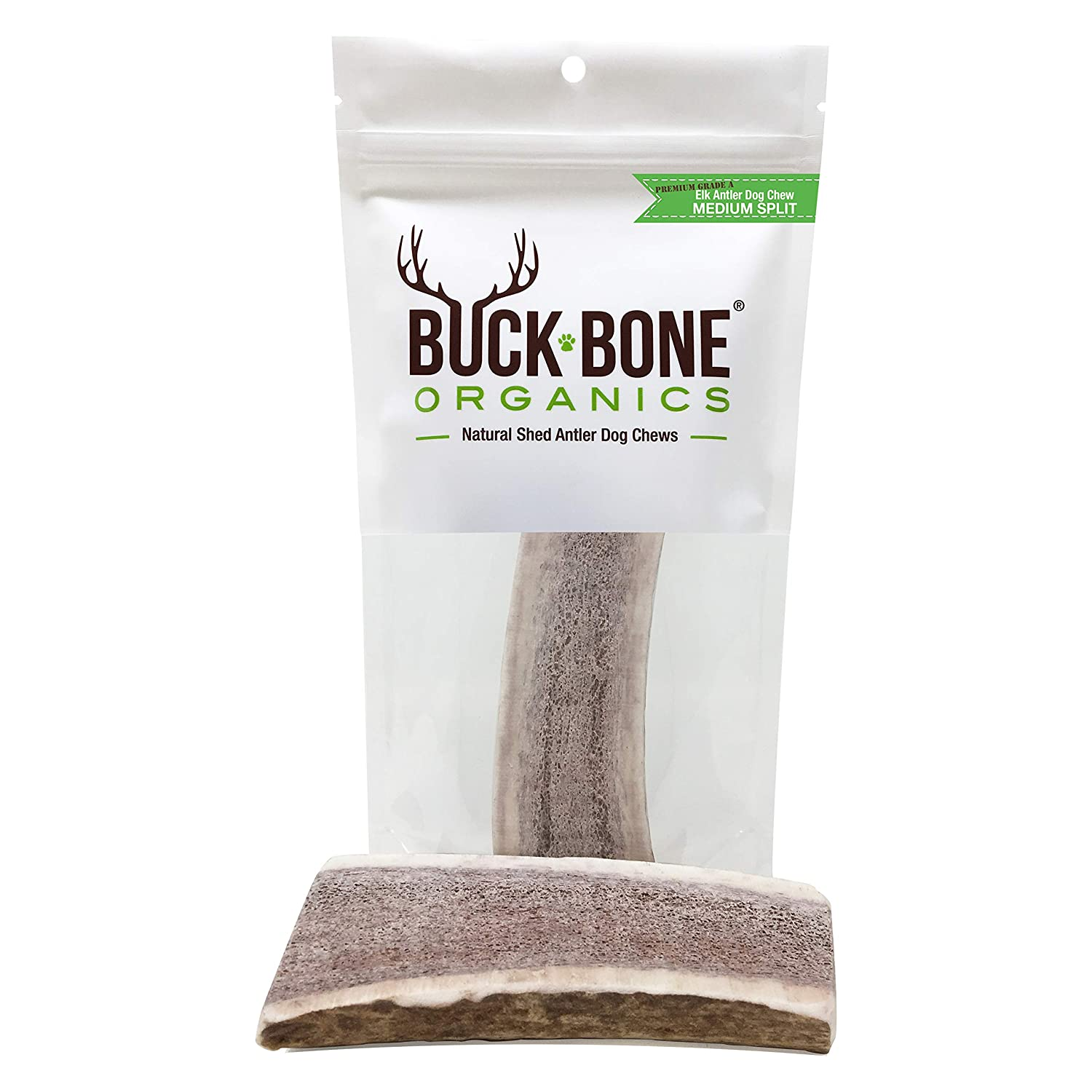Buck Bone Organics Elk Antlers For Dogs, Premium Grade A – Naturally Sourced From Shed Antler, Split Antlers 5-7 In Length, Made in the USA