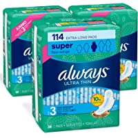 Always Ultra Thin Feminine Pads for Women, Size 3, Extra Long, Super Absorbency, with Wings, Unscented, 38 count- Pack…