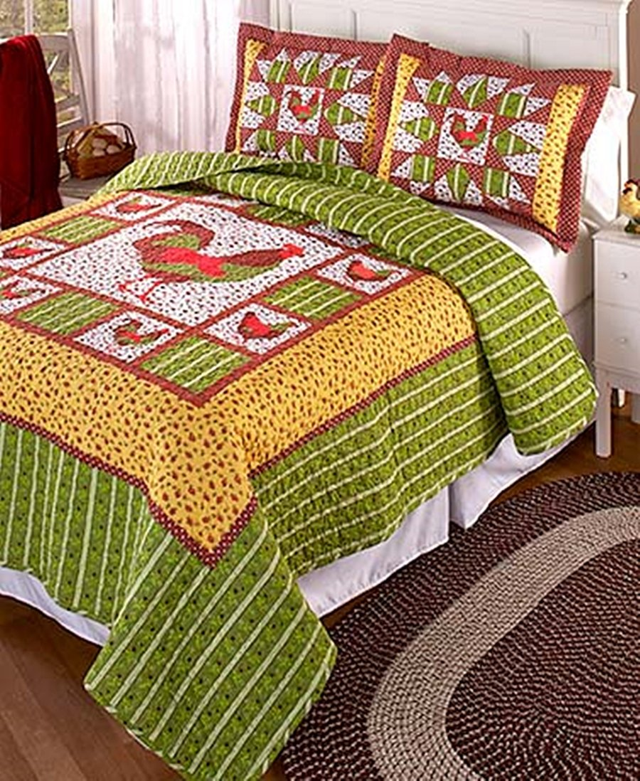 Country FARMHOUSE ROOSTER 3 Piece KING Size COTTON Quilt and Pillow Sham Set