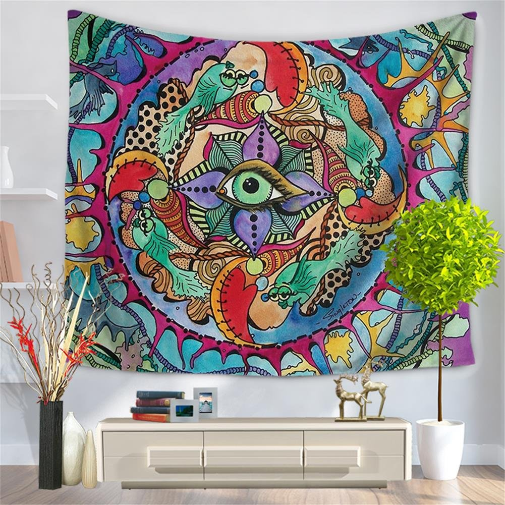 QEES Psychedelic Bohemian Wall Art Tapestry Colorful Abstract Trippy Tattoo Style Spiritual Wall Hanging Decor for Bedroom Living Room Dorm Curtain Decor GT44 Style 3, W:79 x H:59 ZhuoLang W:79 x H:59