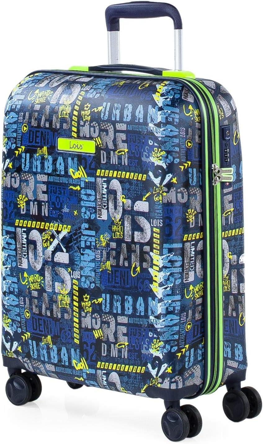 Lois - Maleta Cabina de Viaje Rígida 4 Ruedas Trolley 55 cm ABS Estampado y Texturizado. Equipaje de Mano. Resistente y Ligera. Vuelos Low Cost Ryanair 131750, Color Marino