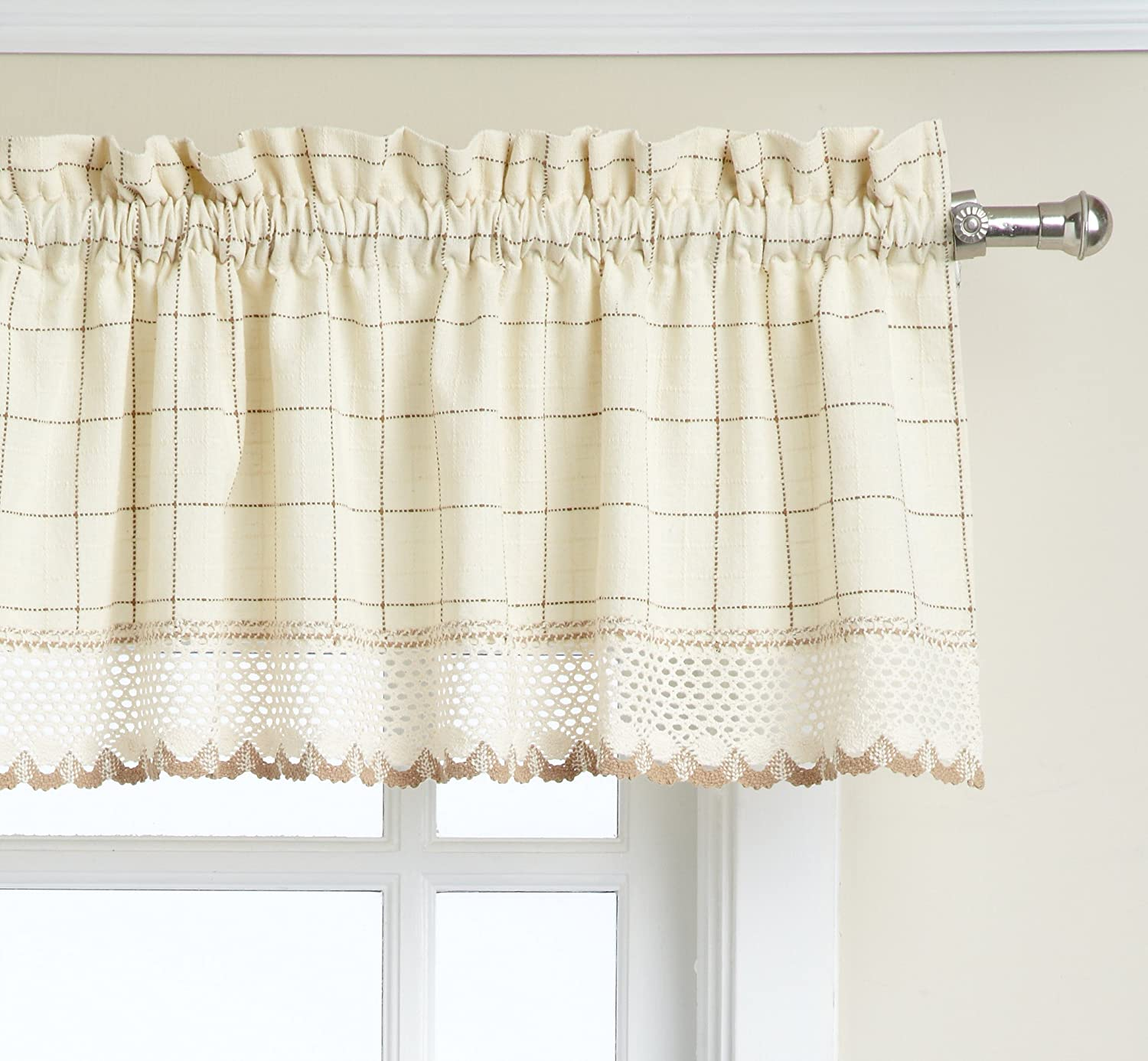 LORRAINE HOME FASHIONS Adirondack Valance, 60 by 12-Inch, Toast
