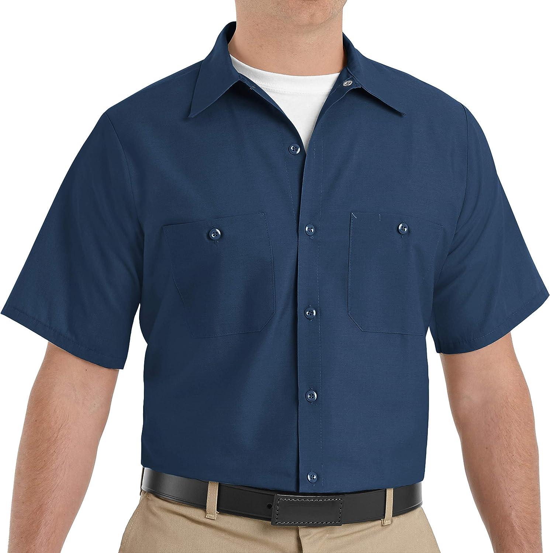 Red Kap Men's Size Industrial Work Shirt, Regular Fit, Short Sleeve, Navy, 5X-Large/Tall