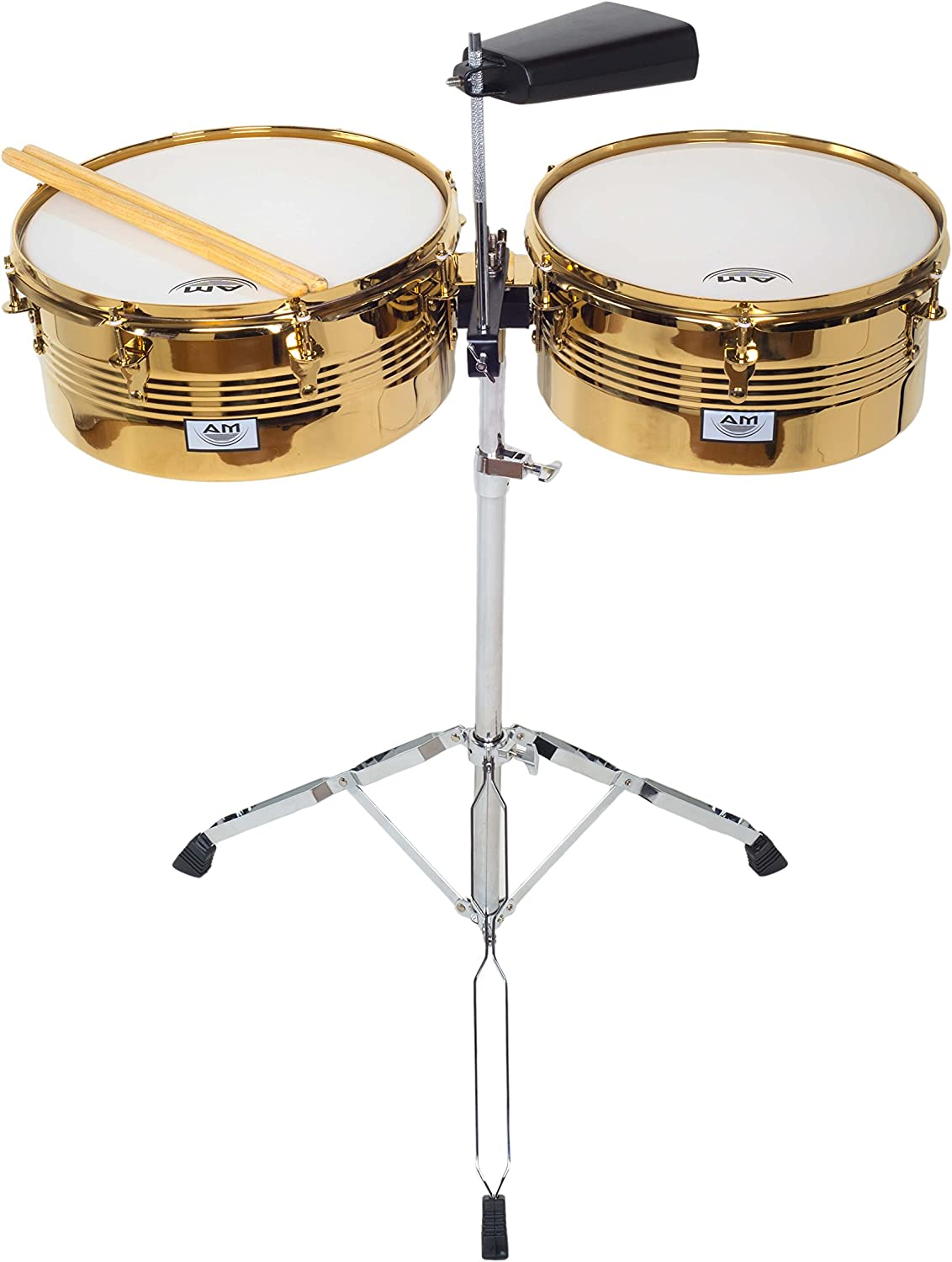 Durable Double Braced Stand and Drum Sticks AM Percussion LIBRE GX2 Timbale Set GOLD CHROME with Cowbell