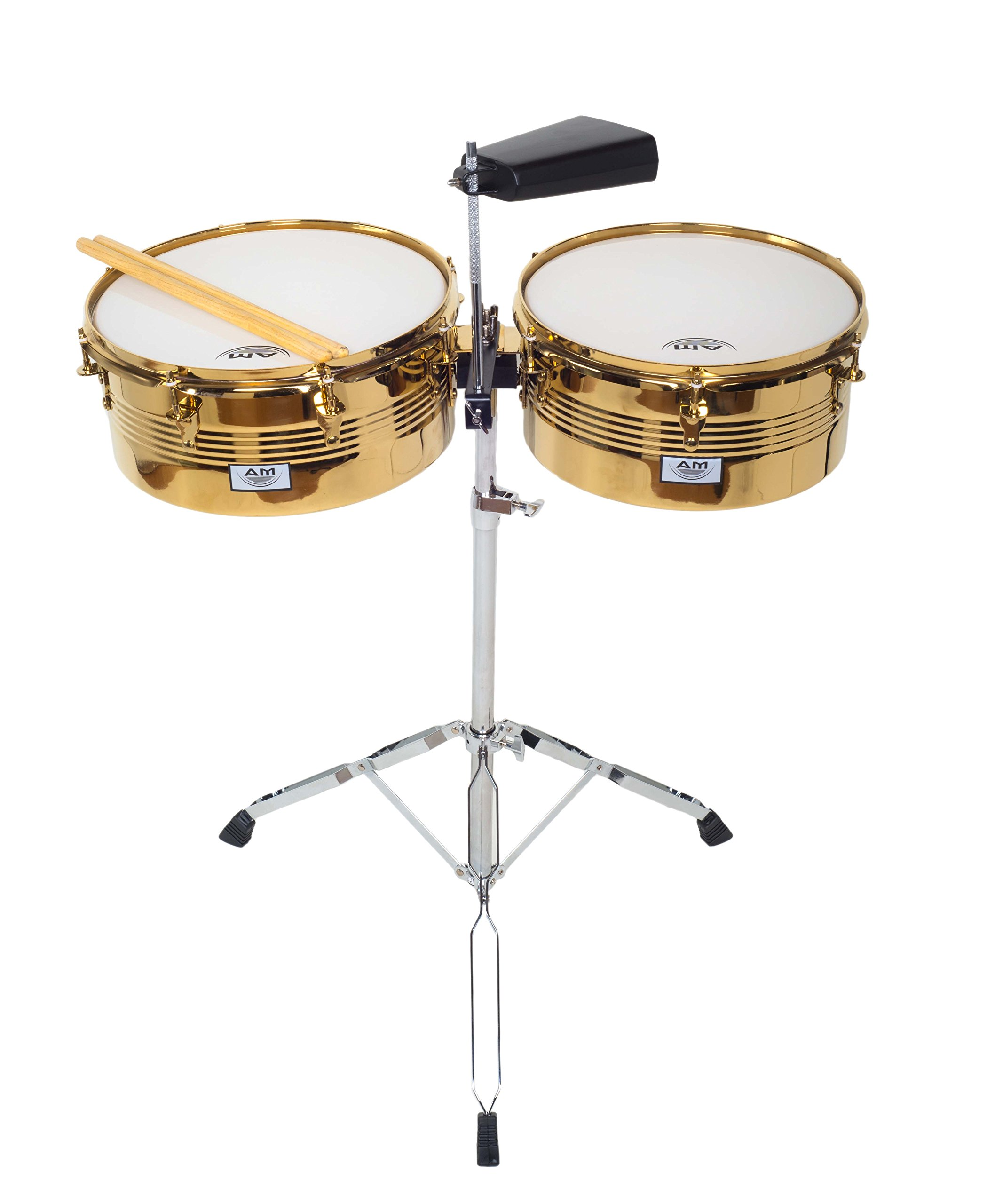 AM Percussion LIBRE GX2 Timbale Set GOLD CHROME with Cowbell, Durable Double Braced Stand and Drum Sticks
