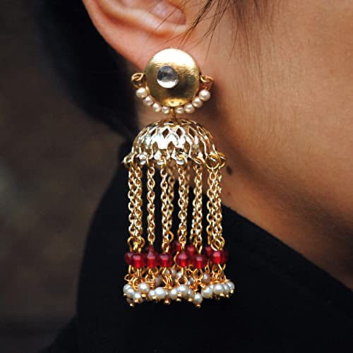 9328aea6f Abhika Creations Golden Kundan Stud WIth Dangling ... - Amazon.com