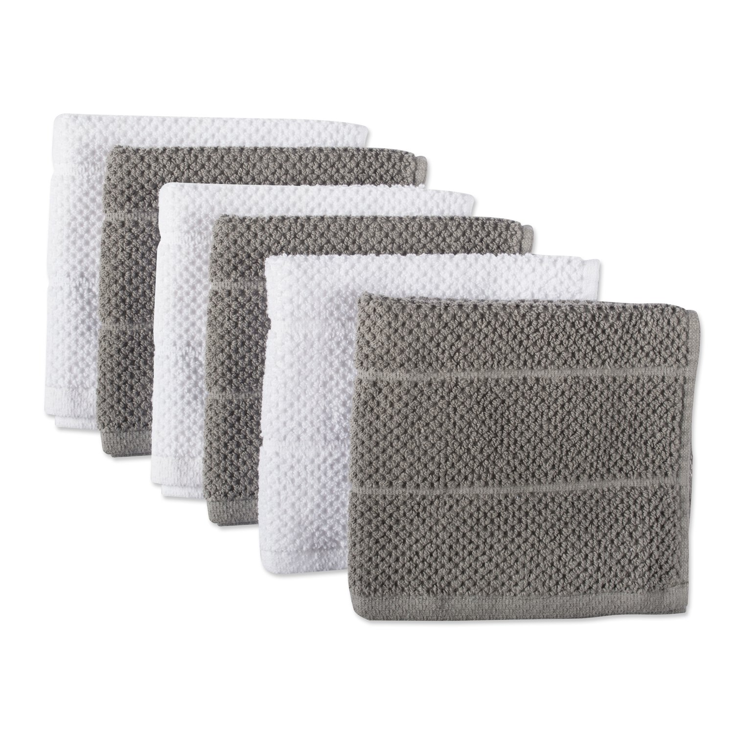 DII 100% Cotton Ultra-Absorbent Cleaning Drying Luxury Chef Terry Dish Cloths for Everyday Kitchen Basic 12 x 12 Set of 6- Gray/White