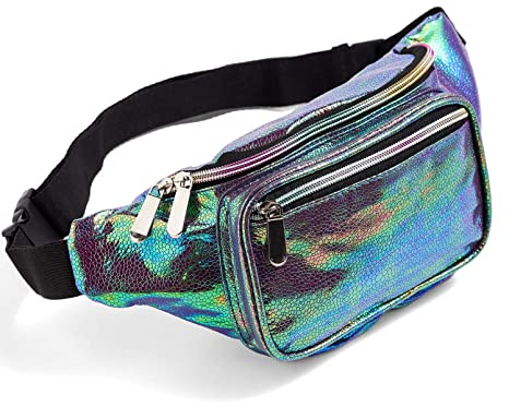 f683a16e3cc6 Blue Fanny Pack for Women Girls 80s Holographic Rave Festival Party Cute  Fashion Waist Bag Belt Bags (Blue Pearl)
