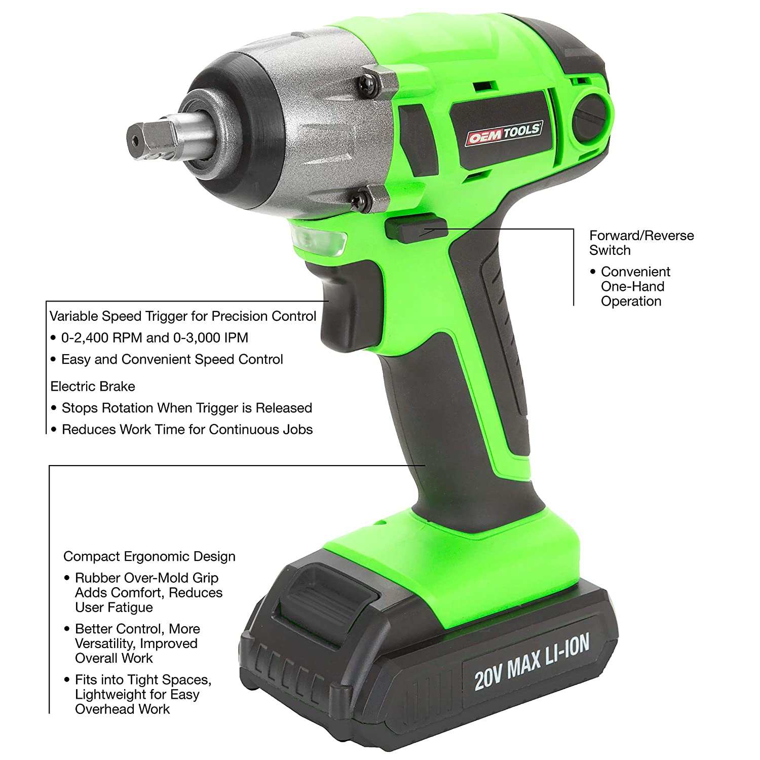OEMTOOLS 24661 20V MAX Li Ion 3 8 In Drive Cordless Impact Wrench